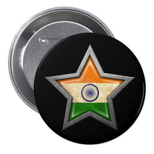 Indian Flag Star on Black Pinback Button
