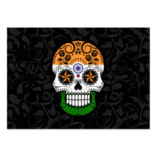 Indian Flag Sugar Skull with Roses Business Cards