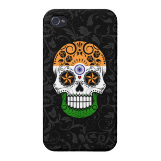 Indian Flag Sugar Skull with Roses iPhone 4 Covers