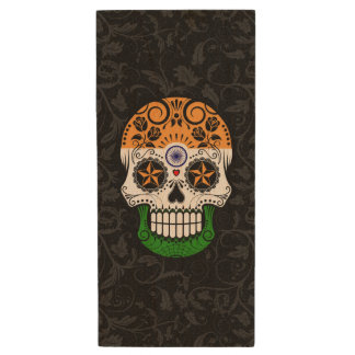 Indian Flag Sugar Skull with Roses Wood USB 2.0 Flash Drive