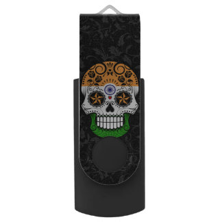 Indian Flag Sugar Skull with Roses Swivel USB 2.0 Flash Drive