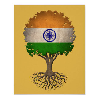 Indian Flag Tree of Life Customizable Poster