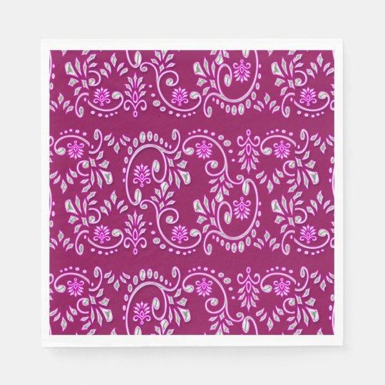 Indian fleur de lis henna pattern disposable napkins