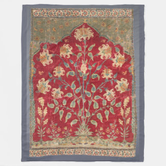 Indian Floral Rug 17th Century Fine Art Fleece Blanket