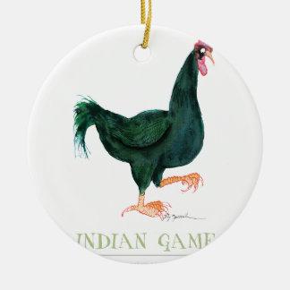 INDIAN GAME HEN, tony fernandes Round Ceramic Decoration
