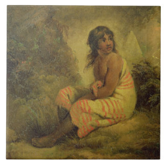 Indian Girl, 1793 (oil on canvas mounted on panel) Large Square Tile