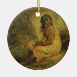 Indian Girl, 1793 (oil on canvas mounted on panel) Round Ceramic Decoration