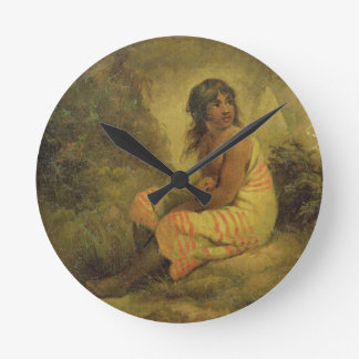 Indian Girl, 1793 (oil on canvas mounted on panel) Round Clock
