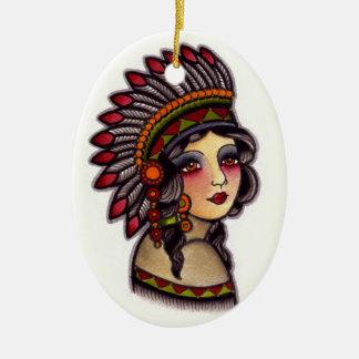 indian girl christmas ornament