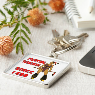 Indian Girl Fighting Terrorism Since 1492 Keychain