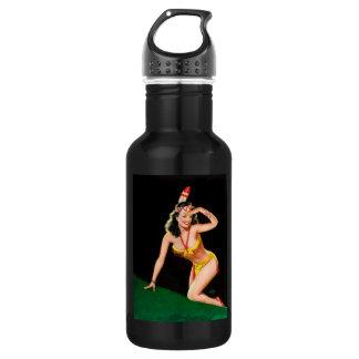 Indian girl retro pinup illustration 532 ml water bottle