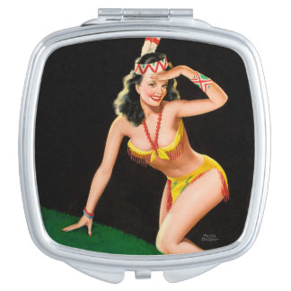 Indian girl retro pinup illustration mirror for makeup