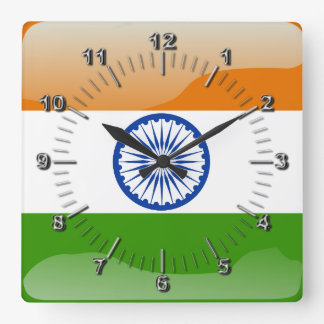 Indian glossy flag square wall clock