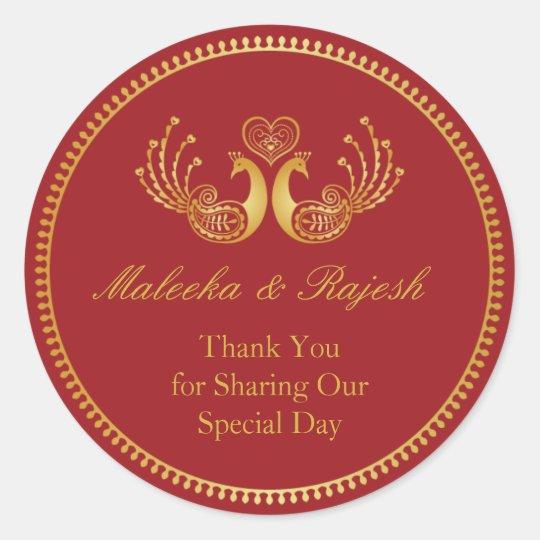 Indian Gold Pattern Modern Wedding Favour Sticker