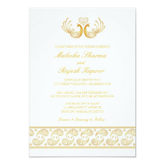 Indian Gold Pattern Modern Wedding Invitation