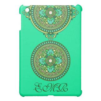 Indian Green and Aqua Discs Monogrammed Cover For The iPad Mini