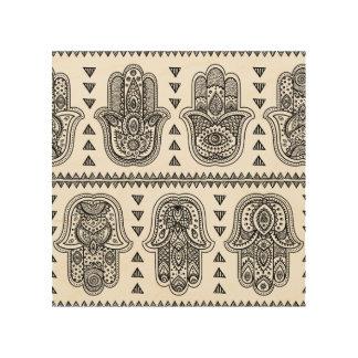 Indian Hand Drawn Hamsa Doodle 5 Wood Print