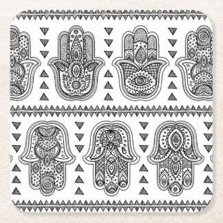 Indian Hand Drawn Hamsa Doodle Square Paper Coaster