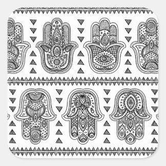 Indian Hand Drawn Hamsa Doodle Square Sticker