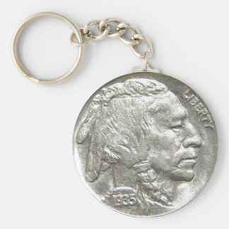 INDIAN HEAD NICKEL BASIC ROUND BUTTON KEY RING