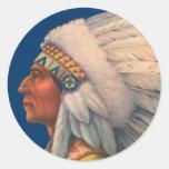 Indian Head Round Stickers