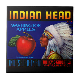 Indian Head Washington Apples Small Square Tile