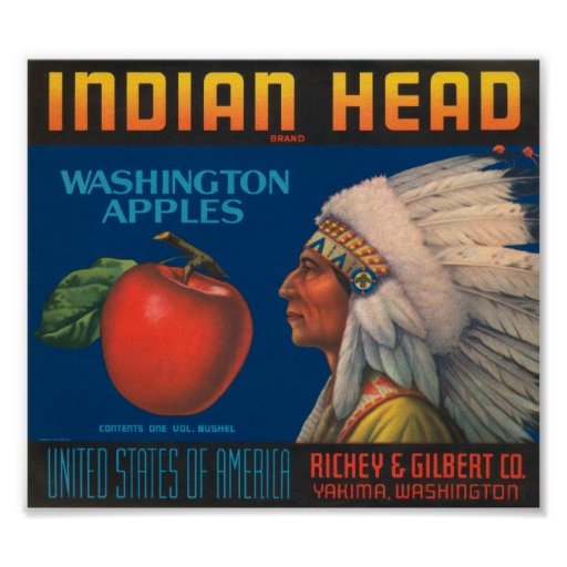Indian Head Washington Apples Vintage Crate Label Posters