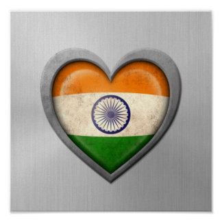 Indian Heart Flag Stainless Steel Effect Print