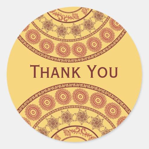 Indian Henna Mehndi Wedding Oval Sticker