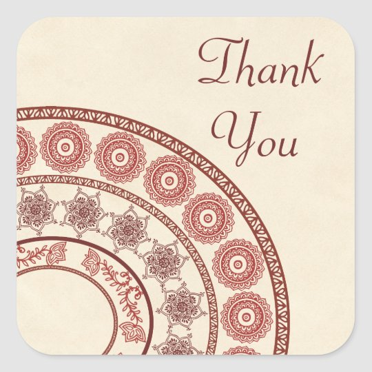 Indian Henna Thank You Square Sticker