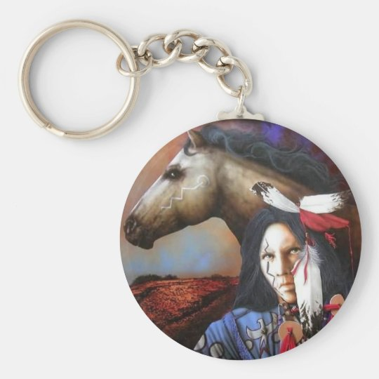 Indian/Horse Basic Round Button Key Ring