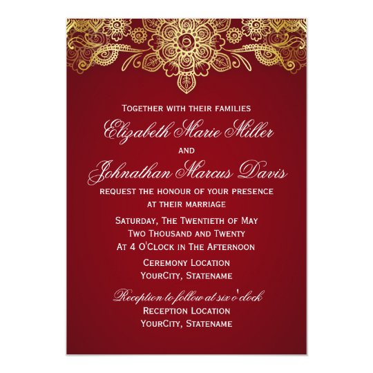 Indian Invitation, choose your colour! Card