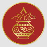 Indian Kalash with Om Sign Round Sticker