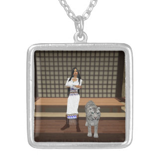Indian Lady And White Tiger Necklace