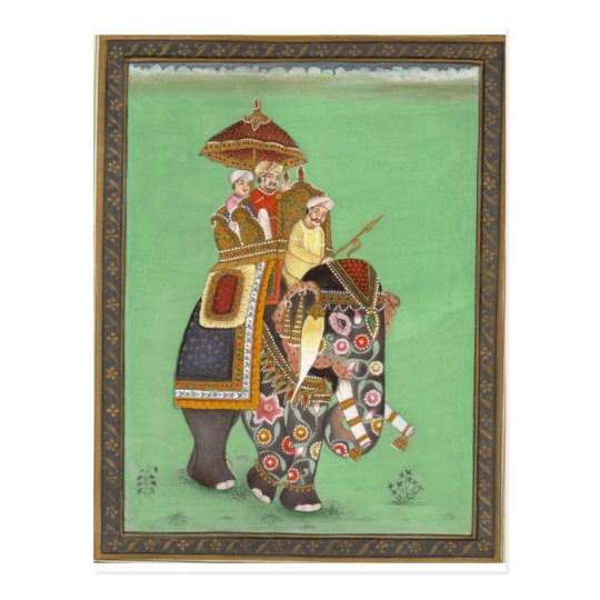 INDIAN MAHARAJAH ON DECORATED ROYAL ELEPHANT POSTCARD
