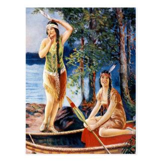 Indian Maidens 1920s Calendar Girls Postcard