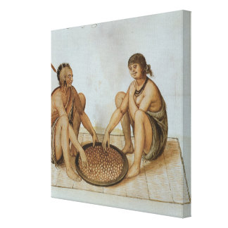 Indian Man and Woman Eating Canvas Print