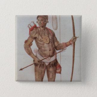 Indian Man of Florida 15 Cm Square Badge
