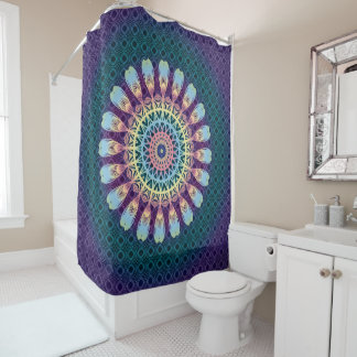 Indian Mandala Multicolor Hippy Boho Style Shower Curtain