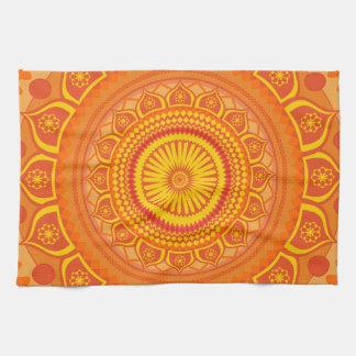 Indian mandala Orange Tea Towel