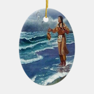 Indian Medicine man by the ocean Ceramic Oval Decoration