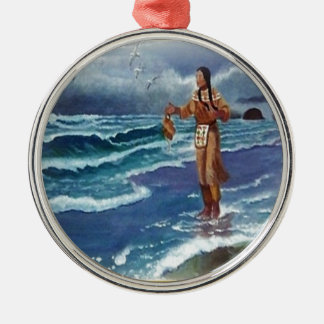 Indian Medicine man by the ocean Silver-Colored Round Decoration