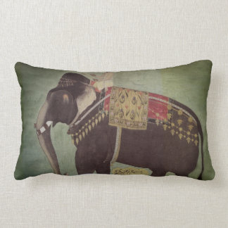 Indian/Mughal Elephant Green Lumbar Throw Pillow
