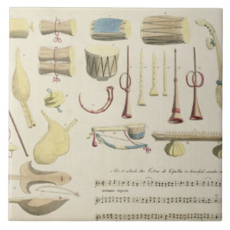 Indian Musical Instruments, plate 23 from 'Orienta Large Square Tile