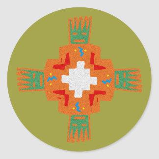 Indian native american ornament Deco ration Round Sticker