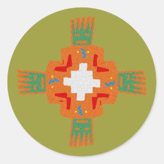 Indian native american ornament Deco ration Round Sticker