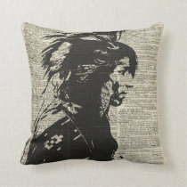 Indian Native American Over An Old Dictionary Page Cushion