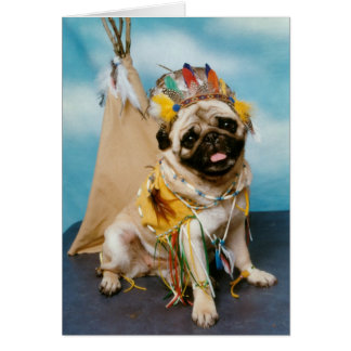Indian Native American Pug Dog Greeting Card