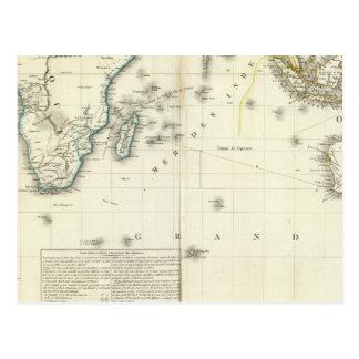 Indian Ocean Atlas Map Postcard