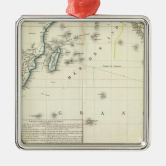 Indian Ocean Atlas Map Silver-Colored Square Decoration
